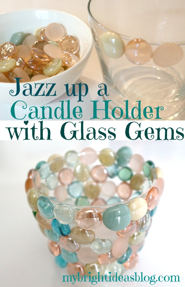 Glass Gems on a Vase or Candle Holder gas a beautiful effect. Glass Gems, Hot Glue and Vase all from the Dollar Store. Easy Craft! mybrightideasblog.com