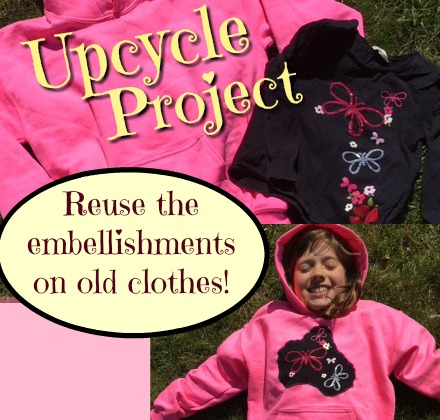 Take the embellishments off an old shirt and sew it onto a plain new one. Great way to save a keepsake of the kids clothes. Easy upcycle project! mybrightideasblog.com