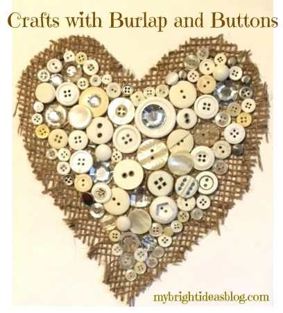 Easy Craft! Make a gorgeous bit of art with burlap and buttons on a canvas. Looks gorgeous and so simple! mybrihtideasblog.com