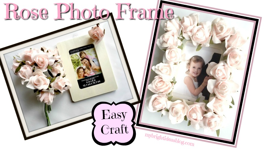 Make a pretty Photo Frame by gluing on flowers. Great baby shower gift or wedding present! Easy beautiful craft! mybrightideasblog.com