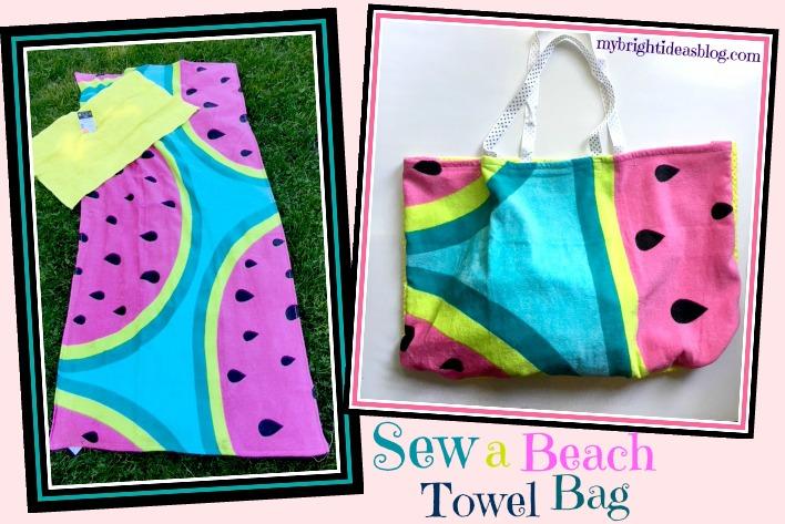Quick sewing project to make a beach towel bag. mybrightideasblog.com