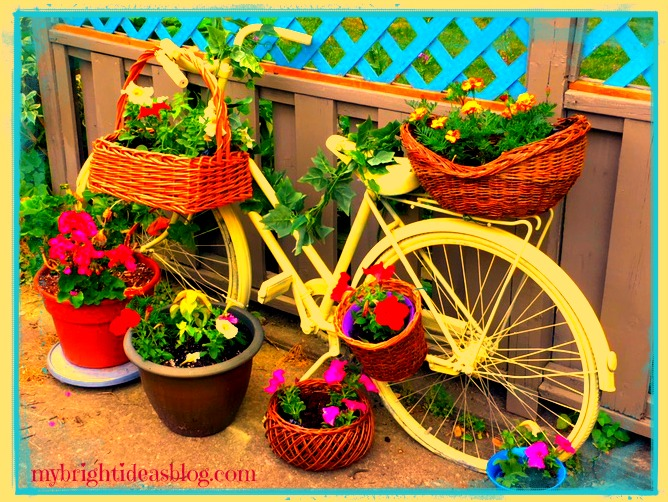 Yellow Painted Bike Planter. So easy with an old bike and a few plants, this creates a seriously fun conversation piece! mybrightideasblog.com
