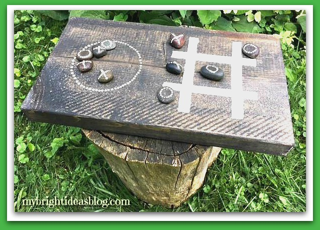 Make a Tic Tac Toe Board Game! A scrap of wood and ten stones and you have a super easy wood project! mybrightideasblog.com