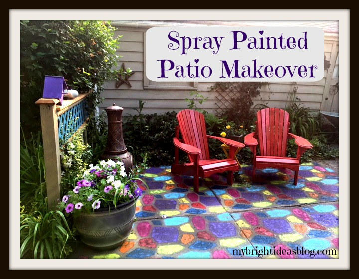 Give a tired old grey patio a complete makeover by spray painting a concrete mold to tiled effect. A brilliant way to add color to your backyard. mybrightideasblog.com