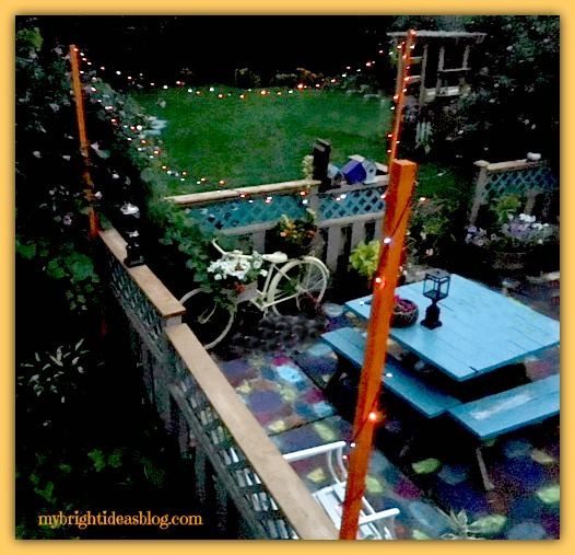 Add Twinkle to Your Backyard with Solar Powered Lights. Backyard Lighting is the perfect patio touch. This Diy cost only $20. mybrightideasblog.com