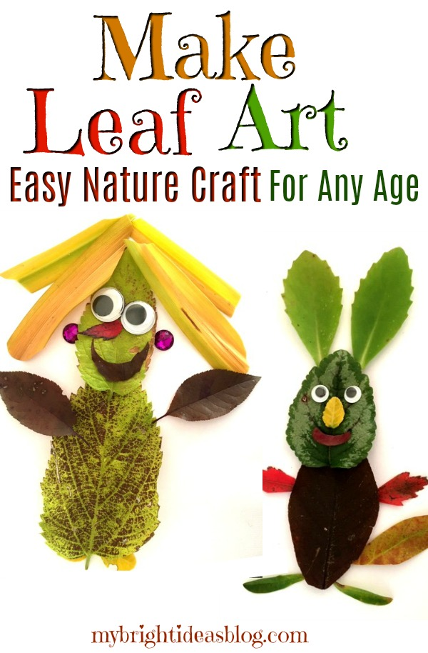 How to make leaf art. An easy kids craft for autumn. Take a nature walk and collect leaves twigs pinecones etc. Turn it all into artwork. Fun for all ages. mybrightideasblog.com
