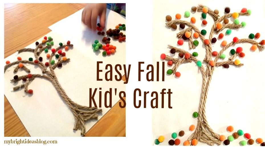 Easy Fall Kids Craft Rope And Pompom Trees My Bright Ideas