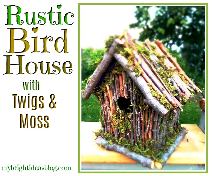Want a Rustic Garden? Make a Beautiful Bird House with Twigs and Moss. Inexpensive, easy natural craft project. mybrightideasblog.com