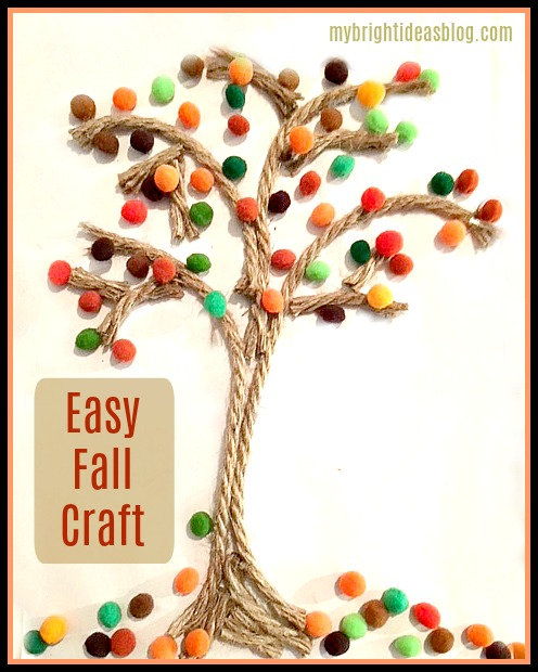 Make an easy kids autumn craft. Using jute rope and pompoms in fall colors. mybrightideasblog.com