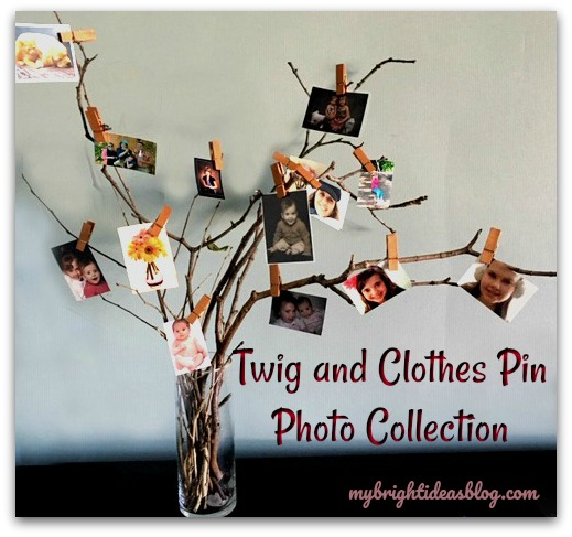 Make an easy photo display using twigs and clothespins! Great idea for family pictures. mybrightideasblog.com