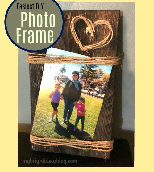 Rustic Picture Frame Diy. Use up scrap wood by adding twine and make a lovely gift. mybrightideasblog.com