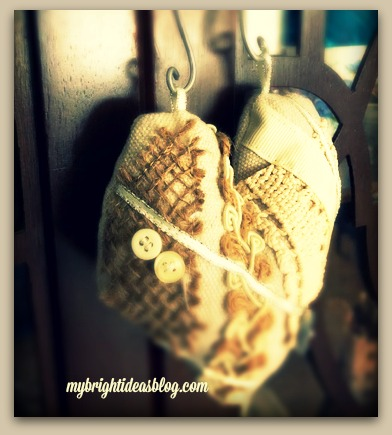 Love heart easy sewing craft. Using scraps of ribbon, lace and buttons make this lovely heart ornament! mybrightideasblog.com