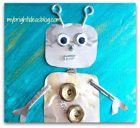 Easy kids craft made with Nuts, Bolts and Foil. Use random items to make super cool collage art! mybrightideasblog.com