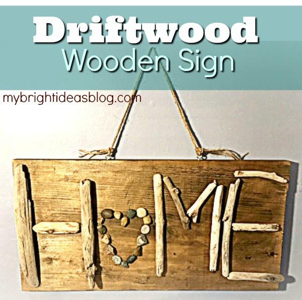 Easy DIY Craft. Make a HOME sign out of driftwood. mybrightideasblog.com